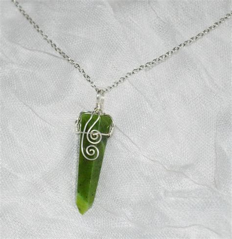 Jade Pendant Necklace green jade pendant necklace wire wrapped jade necklace