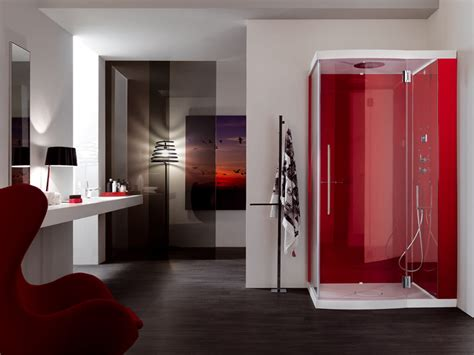 red bathrooms red shower cabin for modern bathroom design alya by samo