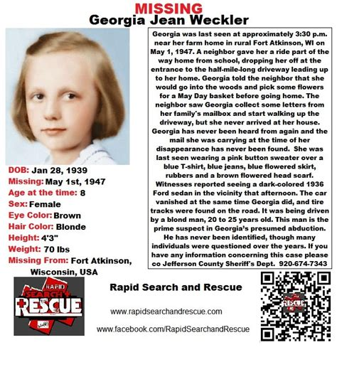 current missing person flyers from wisconsin in the 1940s