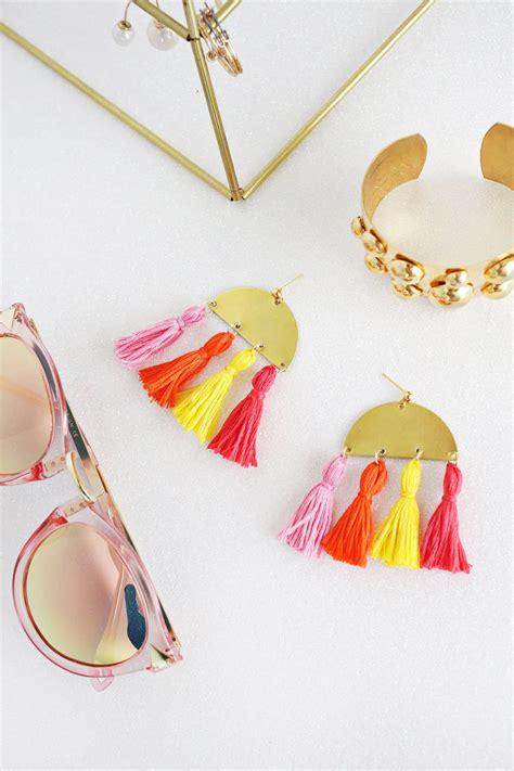 Anting Simple Fan Tassel Earrings half moon tassel earring diy a beautiful mess