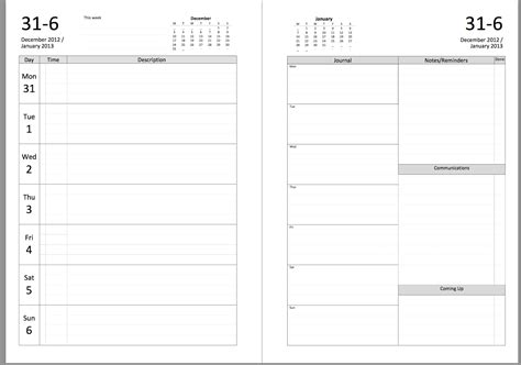 personal daily journal template my all in one place new filofax diary layout to