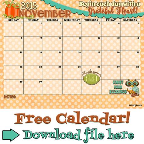 Calendar 2015 November December November 2015 Calendar Is Available At Inkhappi Inkhappi