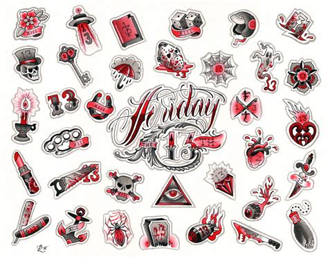 tattoo flash friday the 13th friday the 13th flash sheet 2016 red hot tattoo