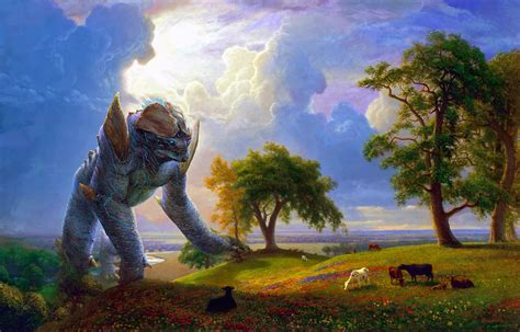 bob ross paintings authentic mashup puts kaiju into classical paintings gizmodo