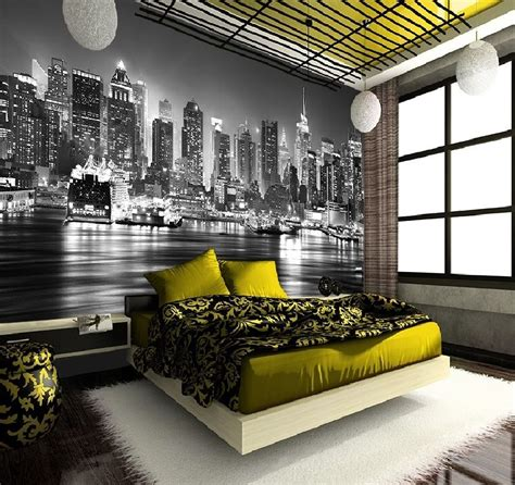New York Skyline Wall Mural b w full wall new york skyline decorating photo wallpaper