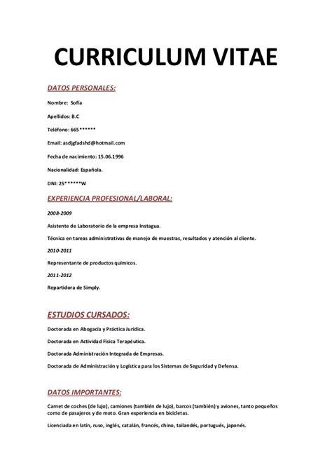 Modelo Curriculum Vitae De Una Empresa Curriculum Vitae