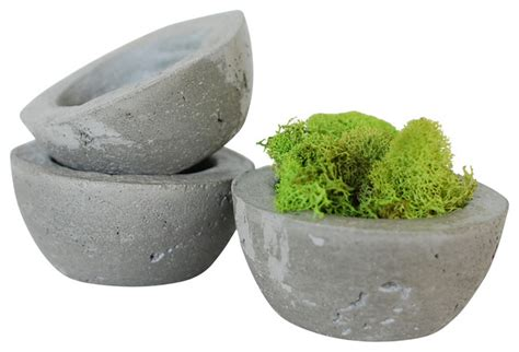 Decorative Concrete Planters concrete decorative bowls planters set of 3 industrial