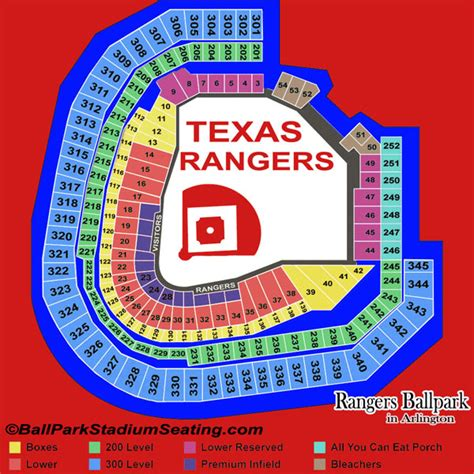 texas rangers stadium map rangers ballpark in arlington seating chart view map 2016