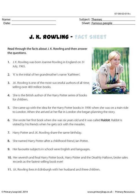 printable worksheets jk fact sheet j k rowling primaryleap co uk