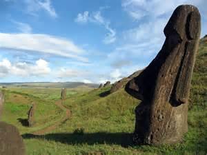 Moai statues in rano raraku volcano