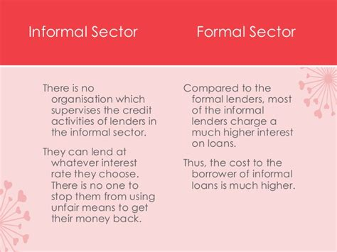 Differentiate Between Formal And Informal Credit Sources Formal Sector Credit In India