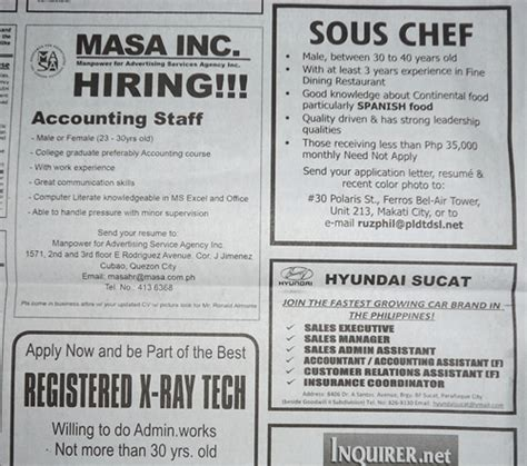 employment section of newspaper accounting job accounting job ads