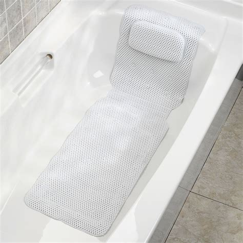 Bathtub Pillow Wedge by Deluxe Foam Bathtub Mat With Spa Pillow White 50 X 15