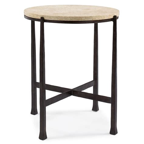 Norfolk Industrial Loft Round Metal Stone Patio End Table Patio Side Table Metal