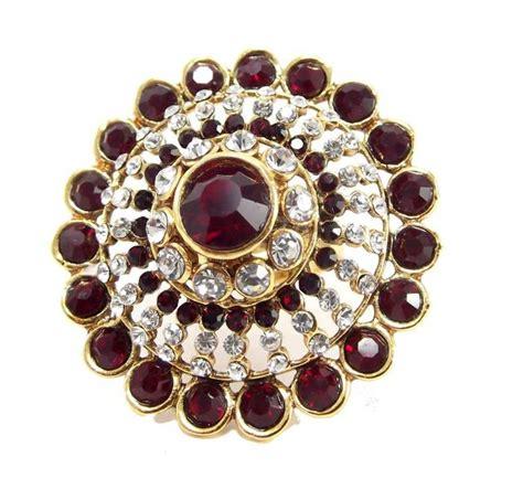 buy bridal maroon kundan gold plated adjustable finger