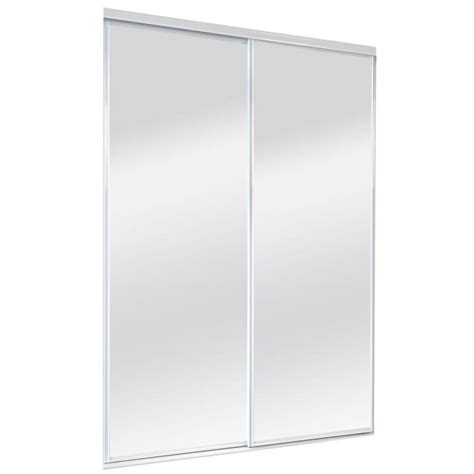 60 Closet Doors Shop Reliabilt Mirror Panel Sliding Closet Interior Door Common 60 In X 80 In Actual 60 In X