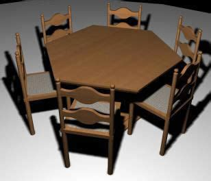 hexagonal dining table and chairs hexagonal wooden dining table with chairs 3d 3ds model for