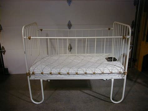 Antique Metal White Baby Crib W Mattress For Sale White Baby Crib For Sale