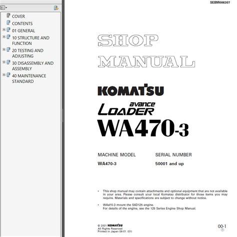 Shop Manual Komatsu Wheel Loader Wa470 7 komatsu wa470 3 wheel loader shop manuals pdf