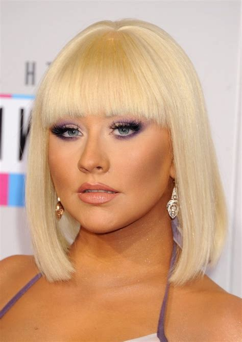 Blunt Bangs Hairstyles Blonde Images | christina aguilera blonde blunt bob haircut with blunt