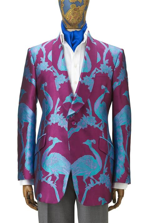 Kaftan Alissia Satin Puring silk peacock jacket made to order mixing it up patterns colors prints textures opposites