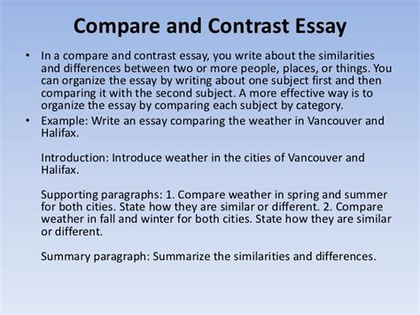 Write And Essay by Comparison And Contrast Essay Introduction