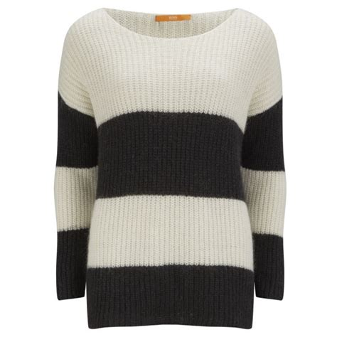 black and white knitted jumper orange s oversize stripe chunky knit jumper