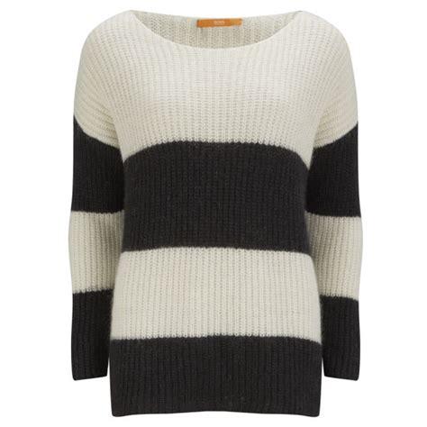 black and white knitted jumper orange s oversize stripe chunky knit jumper