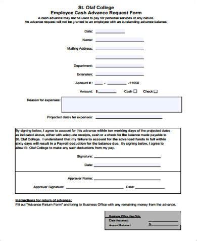 sample employee advance forms  ms word