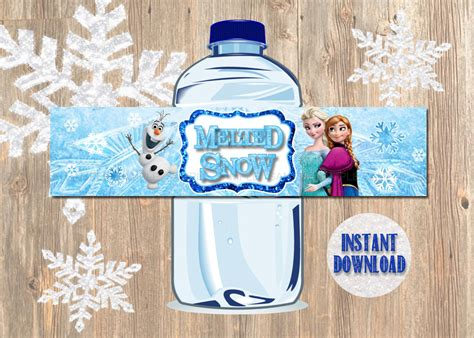 free printable melted olaf labels melted olaf water bottle labels ingrdients party