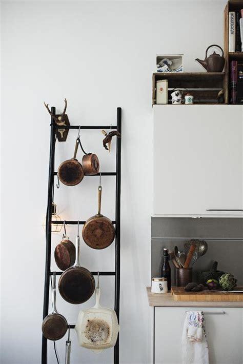 Kitchen Ladder Pot Rack Diy Ladder Pot Rack The Diy