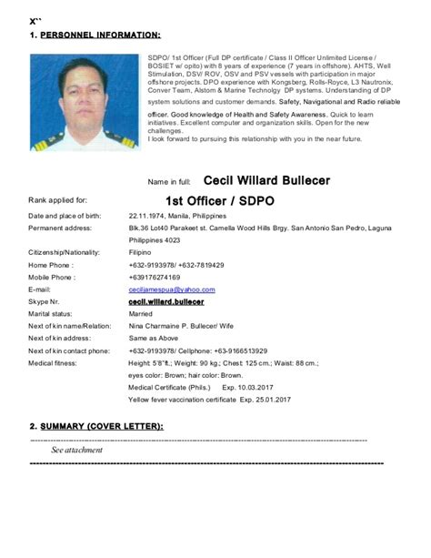 Resume Sle Format For Seaman Sdpo Cecil Bullecer Cv Sept 2015