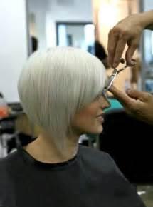how to cut angled bob haircut myself inverted stacked bob wedge cut with side swept bangs