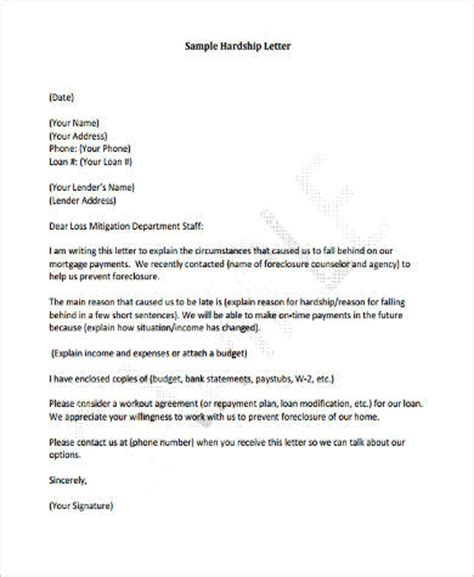 Appeal Letter Template For Mortgage Sle Financial Hardship Letter 9 Exles In Word Pdf