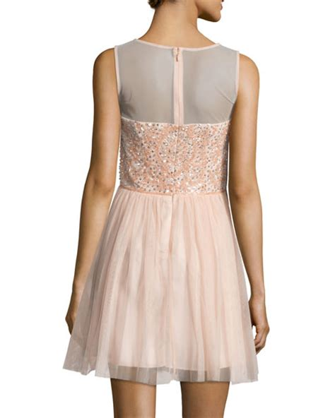 Aidan Mattox Beaded Dress Blush