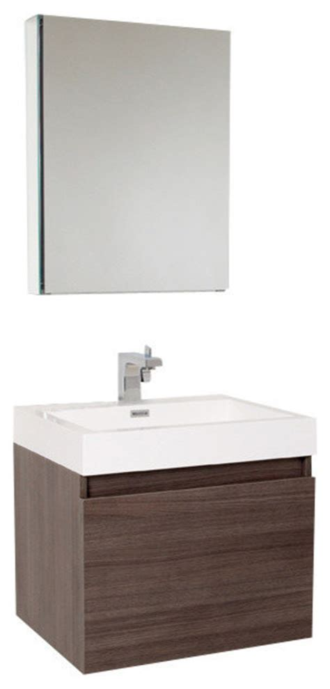 Brushed Nickel Bathroom Cabinet by Nano Gray Oak Vanity W Medicine Cabinet Versa Brushed