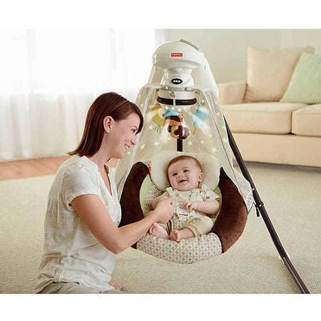 baby in swing all night fisher price cradle swing with night light nite nite