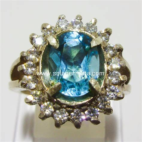 Cincin Batu Kecubung Ukuran 16 Kode 01 1 batu permata blue topaz 16a02 garansi asli harga murah