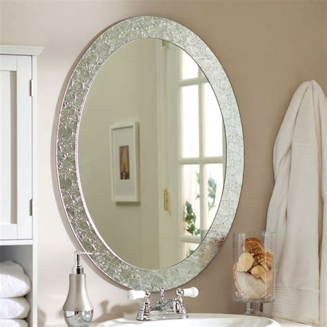 bathroom vanity wall mirrors oval frame less bathroom vanity wall mirror with elegant crystal border