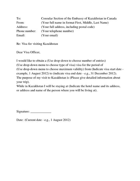 Covering Letter Format Visa Application Visa Covering Letter Format Best Template Collection