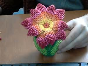 How To Draw A Vase Of Roses How To Make 3d Origami Rainbow Flower Youtube