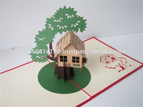 Tree House Card 3d Greeting Pop Up Card 3d Tree Card Template