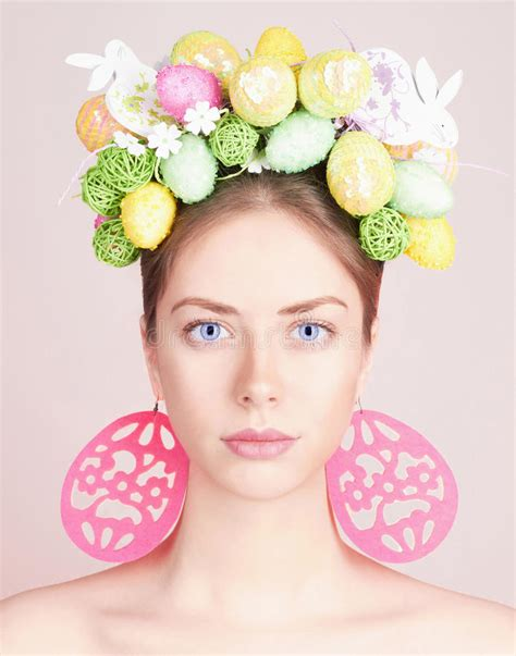 easter time avarde look hairstles beautiful easter woman hairstyle stock image image of