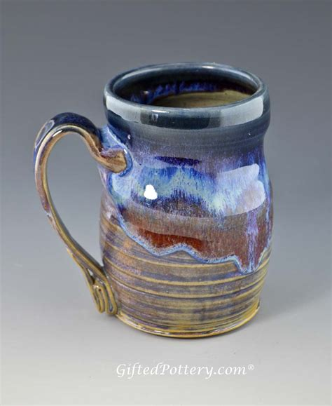 Handmade Pottery Mugs - handmade pottery mug 12 oz blue bisque glaze