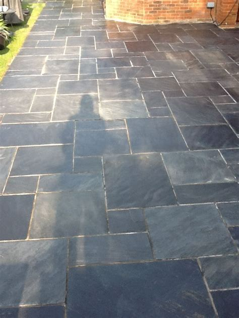 Slate Patio Tile Doctor Showing The Results Of Cleaning Slate On A