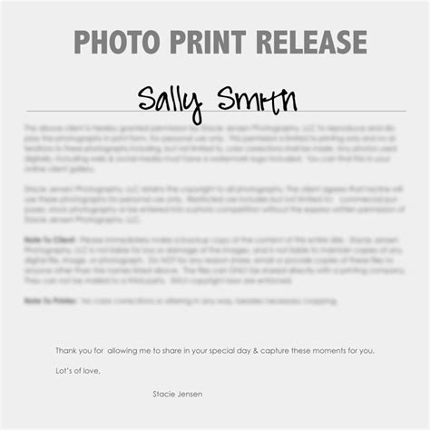 photography print release form template 8 best forms images on photography business
