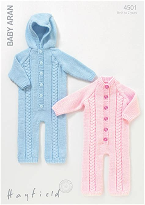 knitted all in one baby suit hayfield baby aran 4501 all in one suits knitting pattern
