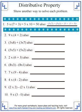 distributive property worksheet 1 addition properties