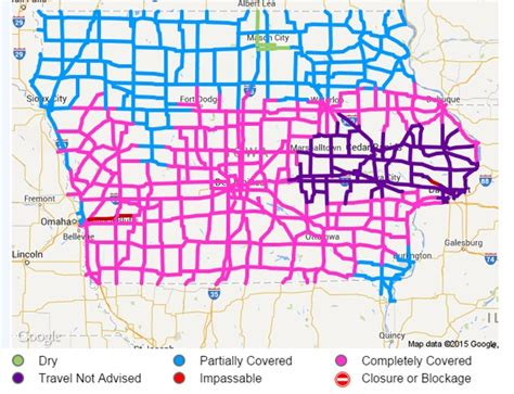 iowa road conditions color map iowa road conditions map my