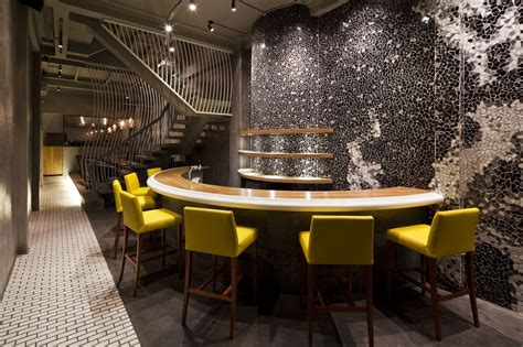 cool ramen restaurant in integrating a mosaic wall